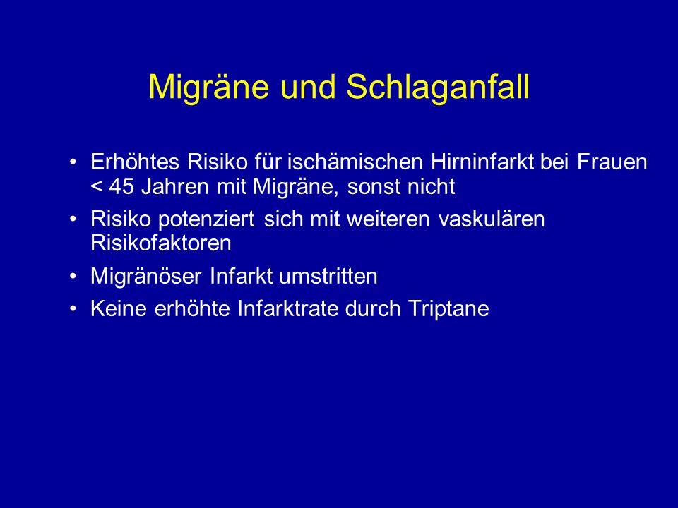 Migräne und Schlaganfall Erhöhtes Risiko für ischämischen Hirninfarkt bei Frauen < 45 Jahren mit Migräne, sonst nicht Risiko potenziert sich mit weite
