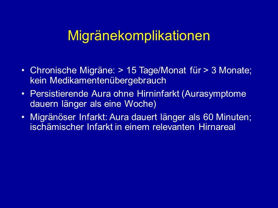 Migränekomplikationen Chronische Migräne: > 15 Tage/Monat für > 3 Monate; kein Medikamentenübergebrauch Persistierende Aura ohne Hirninfarkt (Aurasymp