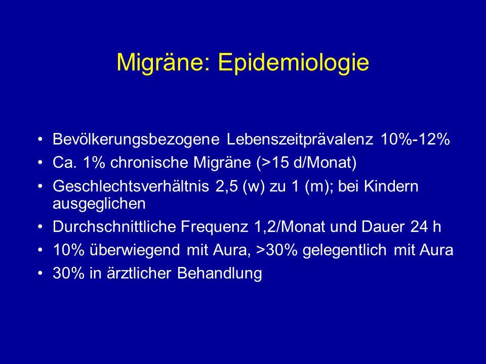 Migräne: Epidemiologie Bevölkerungsbezogene Lebenszeitprävalenz 10%-12% Ca. 1% chronische Migräne (>15 d/Monat) Geschlechtsverhältnis 2,5 (w) zu 1 (m)