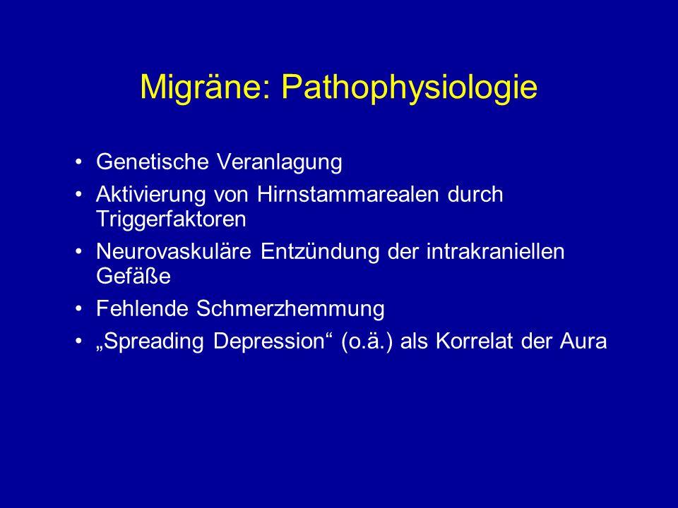 Migräne: Pathophysiologie Genetische Veranlagung Aktivierung von Hirnstammarealen durch Triggerfaktoren Neurovaskuläre Entzündung der intrakraniellen