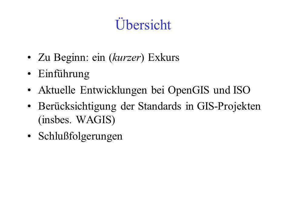 Aktuelle Entwicklungen bei OpenGIS und ISO und deren Berücksichtigung in GIS- Projekten Hardy Pundt, Jörn Möltgen, Oliver Wölbing Universität Münster