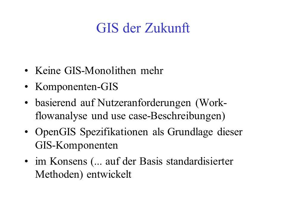 Standards übernehmen ! OpenGIS Spezifikationen –vorhandene Datenmodelle (Geometriedaten) ggf. modifizieren (z. B. auf Basis der simple features specif