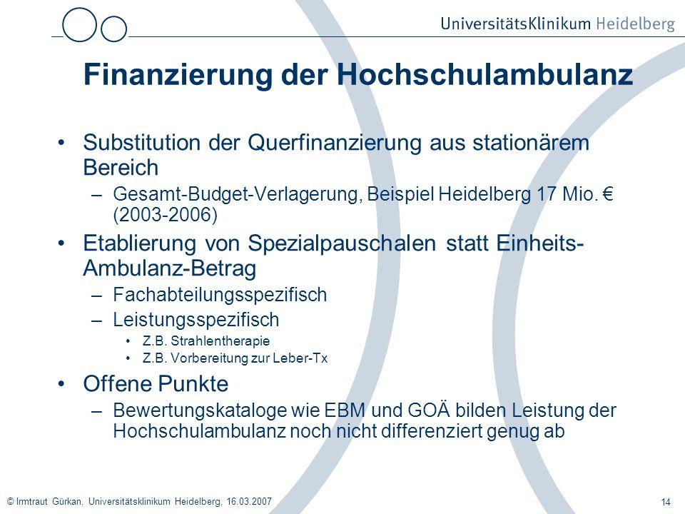 © Irmtraut Gürkan, Universitätsklinikum Heidelberg, 16.03.2007 14 Finanzierung der Hochschulambulanz Substitution der Querfinanzierung aus stationärem