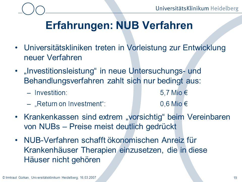 © Irmtraut Gürkan, Universitätsklinikum Heidelberg, 16.03.2007 19 Erfahrungen: NUB Verfahren Universitätskliniken treten in Vorleistung zur Entwicklun