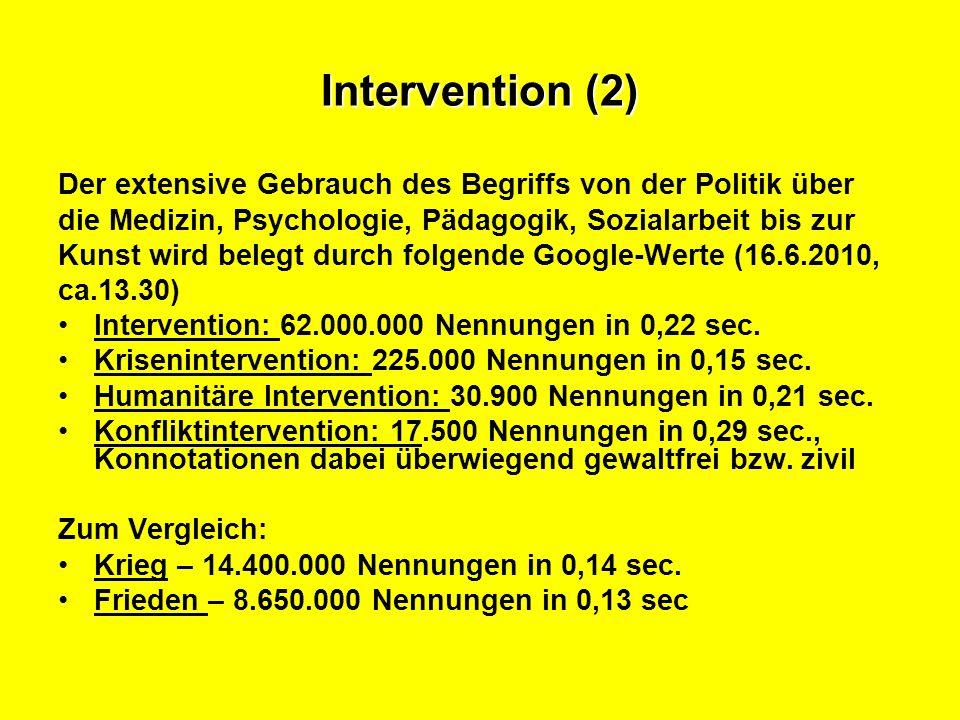 Intervention: Gründe für den extensiven Begriffsgebrauch Diskussion um weak – failing – failed states [Staatsversagen insbes.