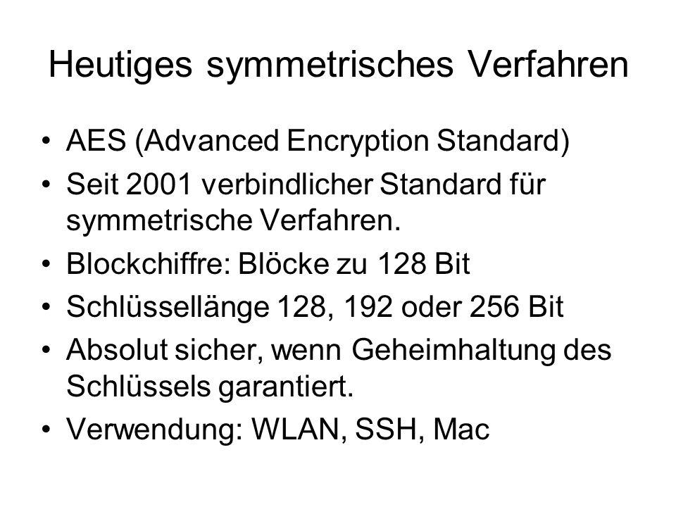 Heutiges symmetrisches Verfahren AES (Advanced Encryption Standard) Seit 2001 verbindlicher Standard für symmetrische Verfahren. Blockchiffre: Blöcke