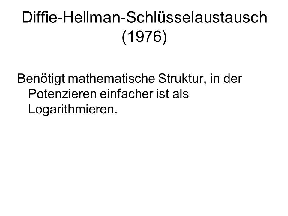 Diffie-Hellman-Schlüsselaustausch (1976) Benötigt mathematische Struktur, in der Potenzieren einfacher ist als Logarithmieren.