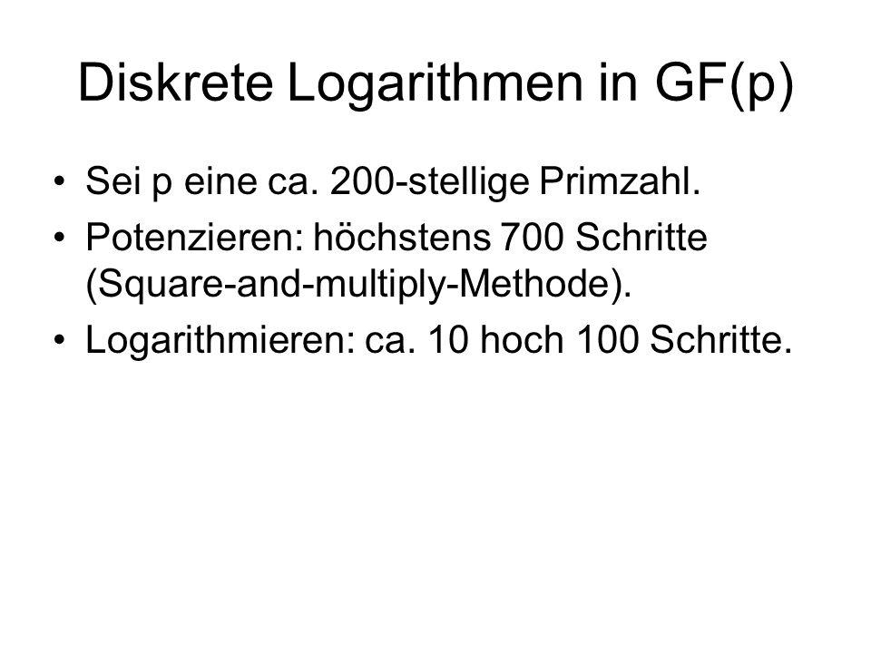 Diskrete Logarithmen in GF(p) Sei p eine ca. 200-stellige Primzahl. Potenzieren: höchstens 700 Schritte (Square-and-multiply-Methode). Logarithmieren: