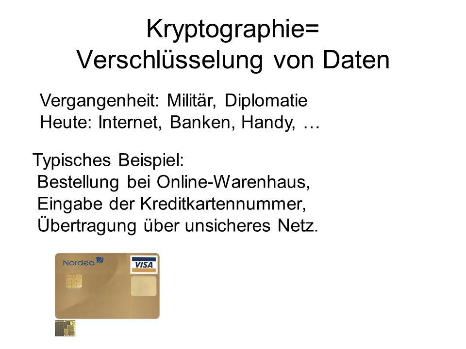 Kryptographie= Verschlüsselung von Daten Vergangenheit: Militär, Diplomatie Heute: Internet, Banken, Handy, … Typisches Beispiel: Bestellung bei Onlin