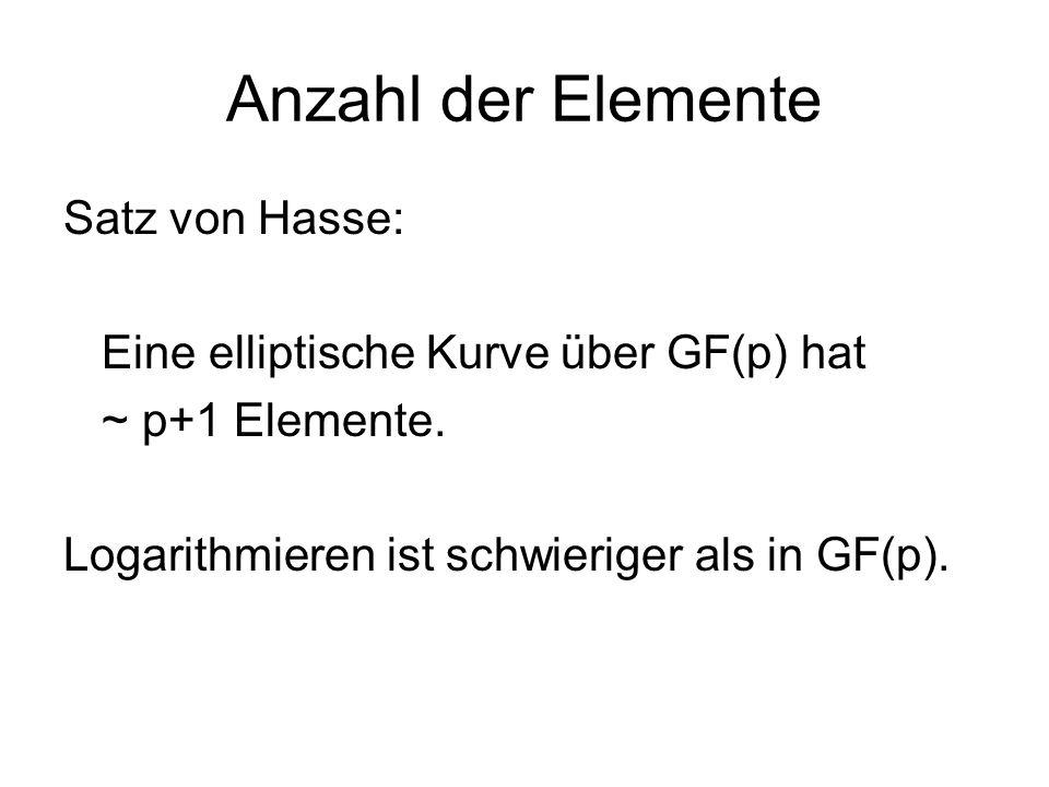Anzahl der Elemente Satz von Hasse: Eine elliptische Kurve über GF(p) hat ~ p+1 Elemente. Logarithmieren ist schwieriger als in GF(p).