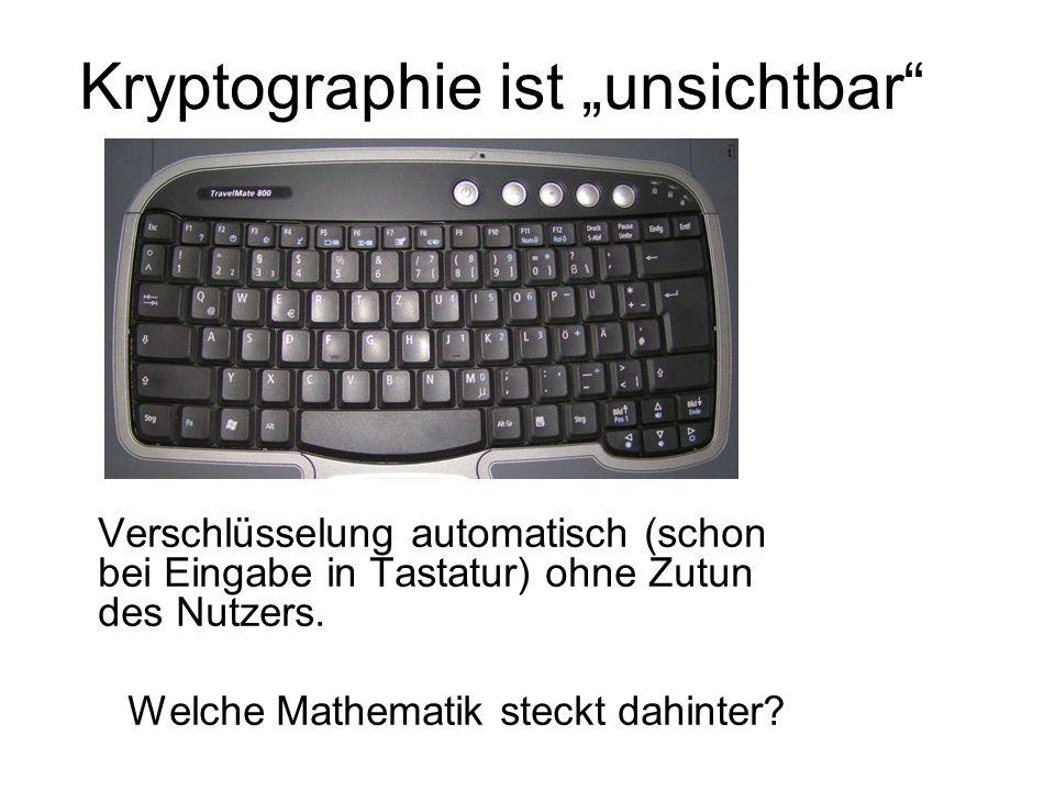 Kryptographie ist unsichtbar Verschlüsselung automatisch (schon bei Eingabe in Tastatur) ohne Zutun des Nutzers. Welche Mathematik steckt dahinter?