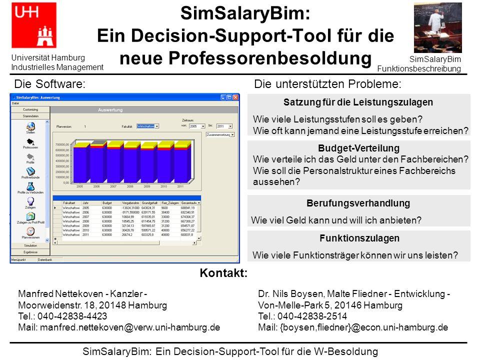 SimSalaryBim: Ein Decision-Support-Tool für die W-Besoldung Universität Hamburg Industrielles Management SimSalaryBim Funktionsbeschreibung SimSalaryBim: Ein Decision-Support-Tool für die neue Professorenbesoldung Satzung für die Leistungszulagen Wie viele Leistungsstufen soll es geben.