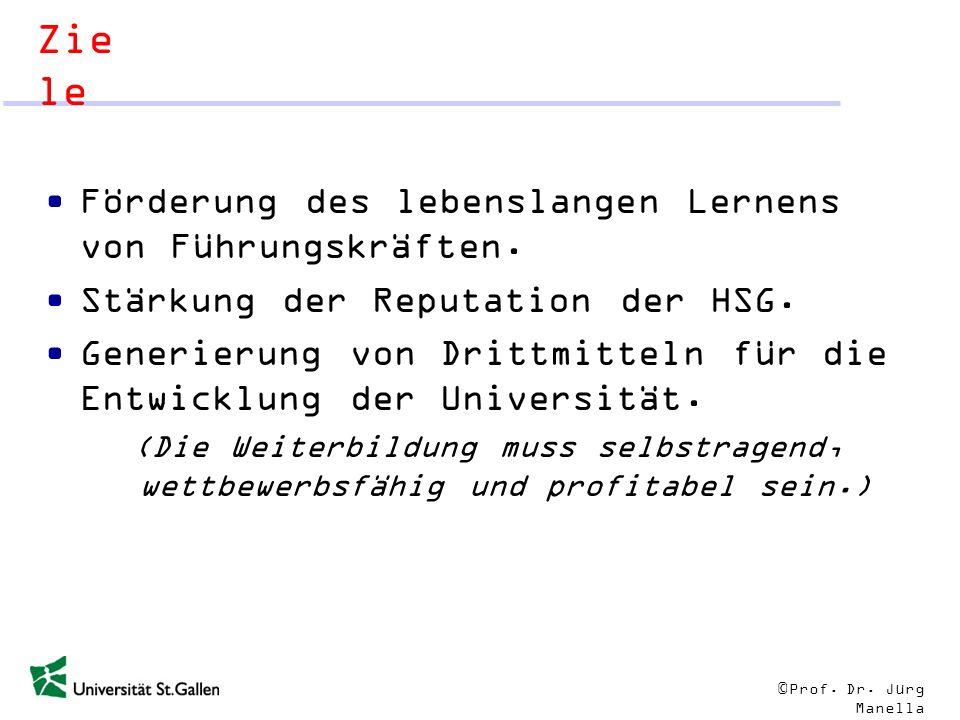 © Prof. Dr. Jürg Manella Zie le Förderung des lebenslangen Lernens von Führungskräften. Stärkung der Reputation der HSG. Generierung von Drittmitteln