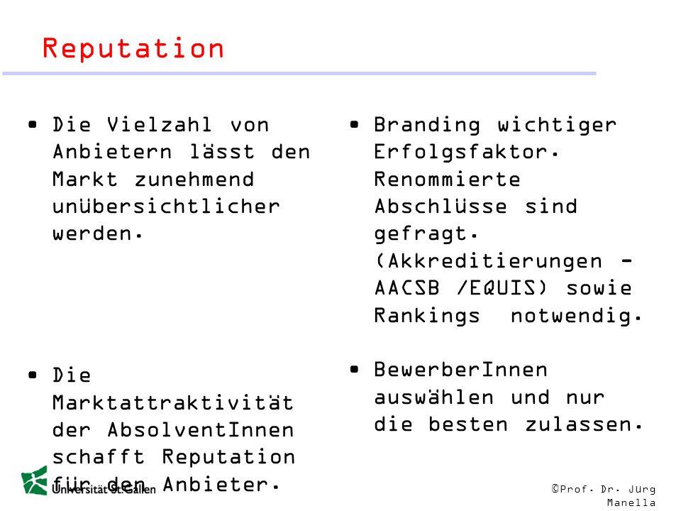 © Prof. Dr. Jürg Manella Reputation Die Vielzahl von Anbietern lässt den Markt zunehmend unübersichtlicher werden. Die Marktattraktivität der Absolven