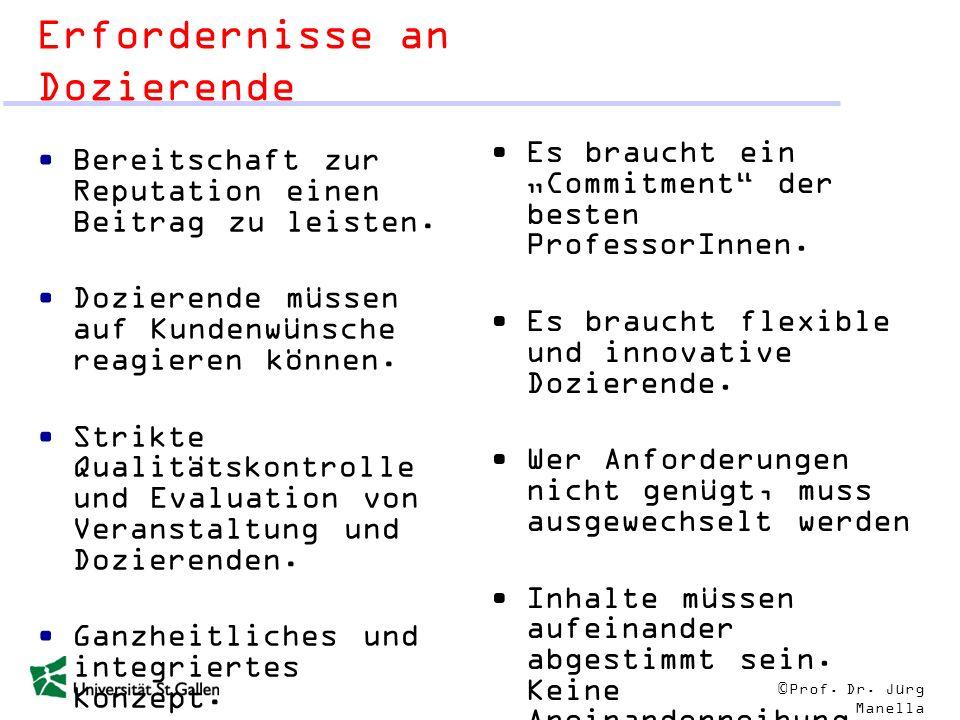 © Prof. Dr. Jürg Manella Erfordernisse an Dozierende Bereitschaft zur Reputation einen Beitrag zu leisten. Dozierende müssen auf Kundenwünsche reagier