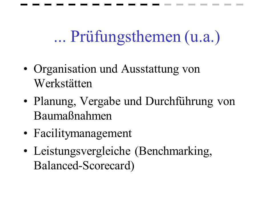 ... Prüfungsthemen (u.a.) Organisation und Ausstattung von Werkstätten Planung, Vergabe und Durchführung von Baumaßnahmen Facilitymanagement Leistungs