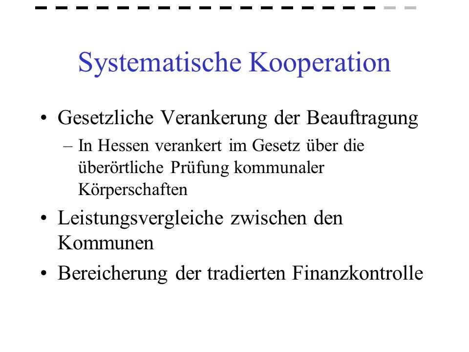 Systematische Kooperation Gesetzliche Verankerung der Beauftragung –In Hessen verankert im Gesetz über die überörtliche Prüfung kommunaler Körperschaf