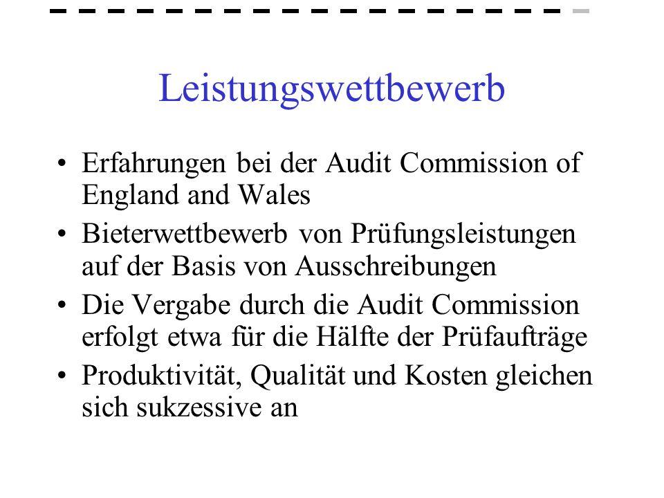 Leistungswettbewerb Erfahrungen bei der Audit Commission of England and Wales Bieterwettbewerb von Prüfungsleistungen auf der Basis von Ausschreibunge