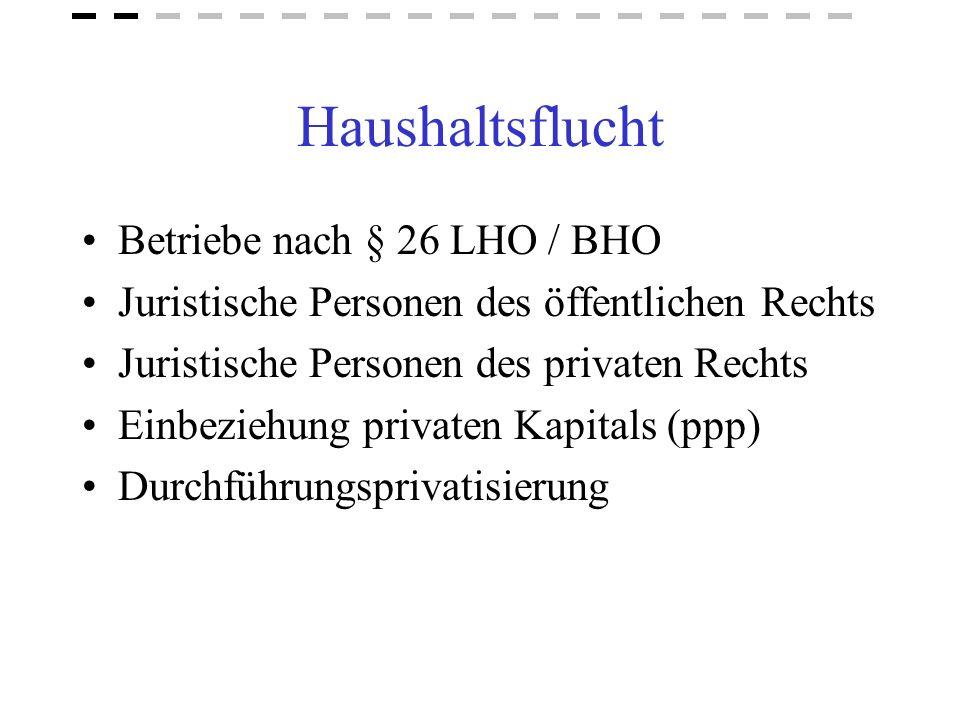 Haushaltsflucht Betriebe nach § 26 LHO / BHO Juristische Personen des öffentlichen Rechts Juristische Personen des privaten Rechts Einbeziehung privat