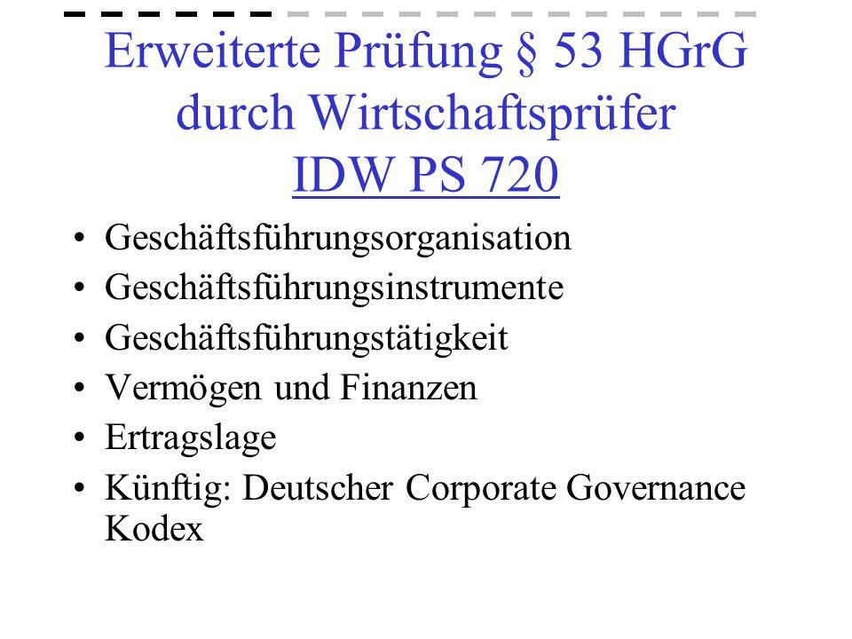 Erweiterte Prüfung § 53 HGrG durch Wirtschaftsprüfer IDW PS 720 Geschäftsführungsorganisation Geschäftsführungsinstrumente Geschäftsführungstätigkeit