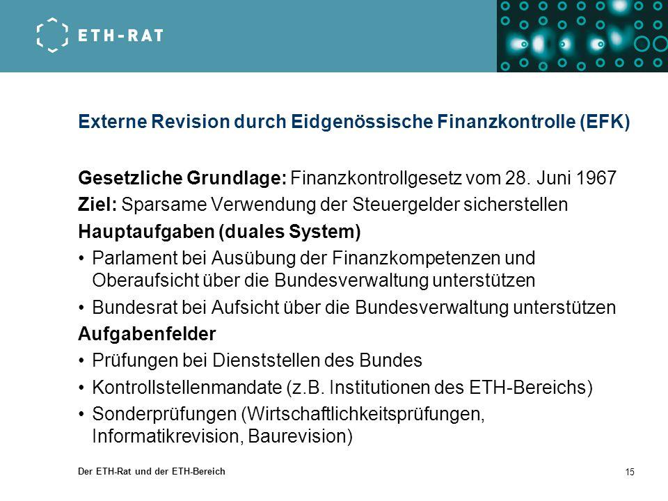Der ETH-Rat und der ETH-Bereich 15 Externe Revision durch Eidgenössische Finanzkontrolle (EFK) Gesetzliche Grundlage: Finanzkontrollgesetz vom 28. Jun