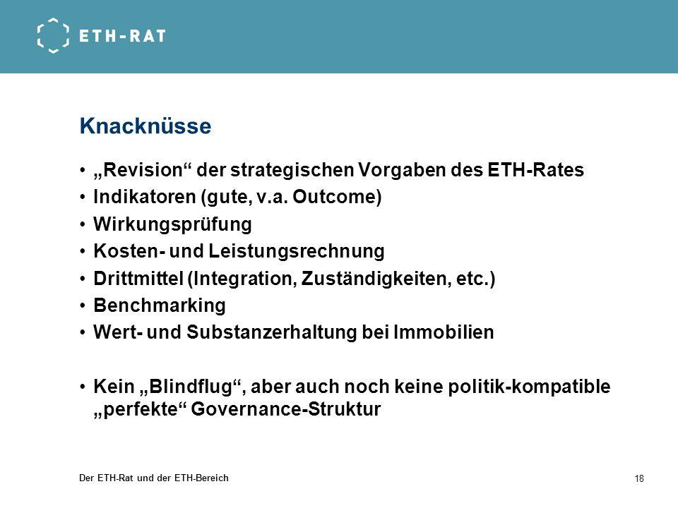 Der ETH-Rat und der ETH-Bereich 18 Knacknüsse Revision der strategischen Vorgaben des ETH-Rates Indikatoren (gute, v.a. Outcome) Wirkungsprüfung Koste