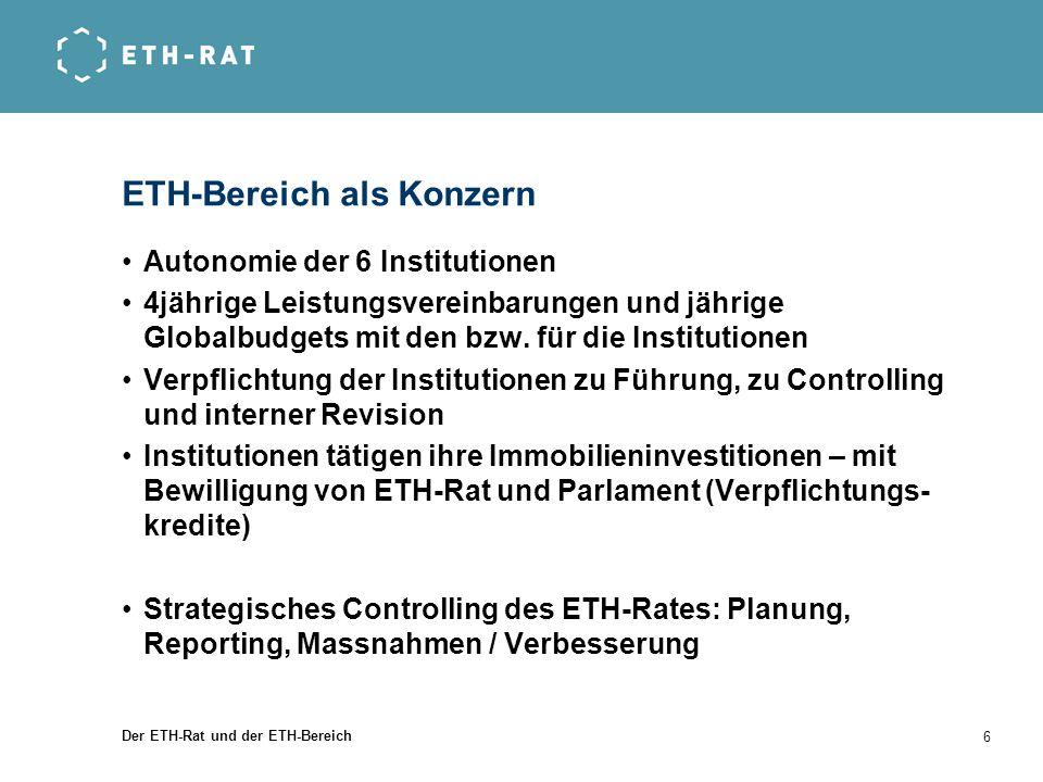 Der ETH-Rat und der ETH-Bereich 6 ETH-Bereich als Konzern Autonomie der 6 Institutionen 4jährige Leistungsvereinbarungen und jährige Globalbudgets mit