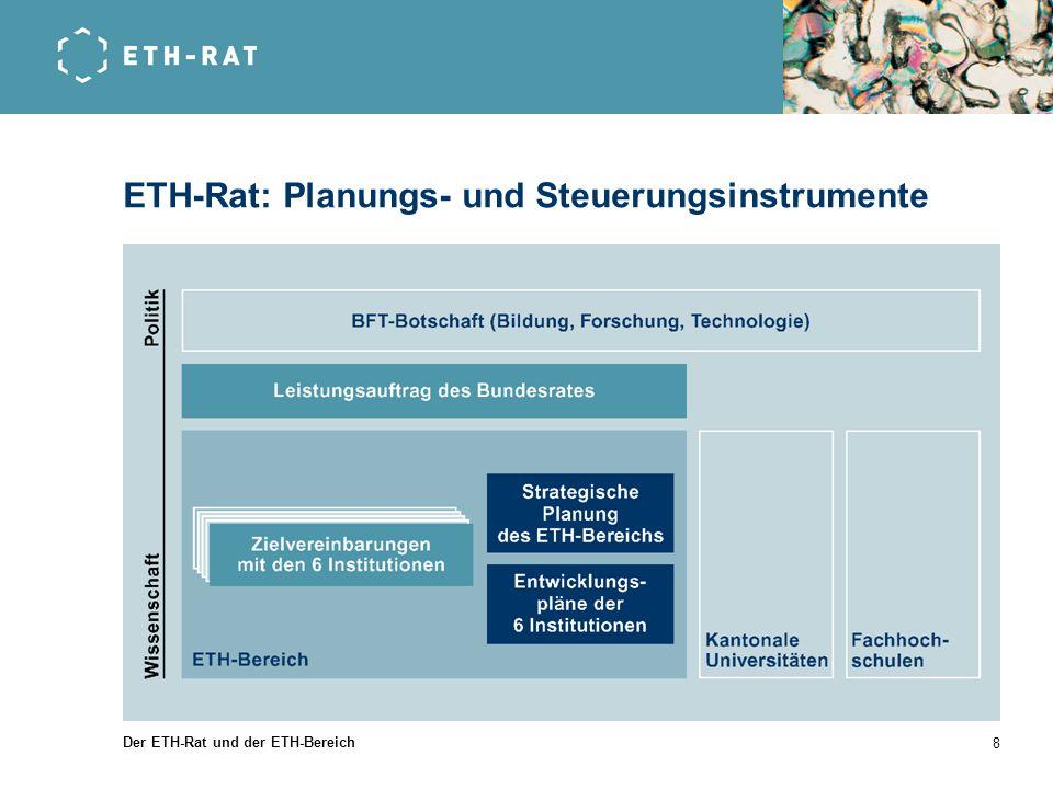 Der ETH-Rat und der ETH-Bereich 8 ETH-Rat: Planungs- und Steuerungsinstrumente