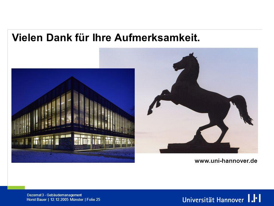 Dezernat 3 - Gebäudemanagement Horst Bauer   12.12.2005 Münster   Folie 25 Vielen Dank für Ihre Aufmerksamkeit. www.uni-hannover.de
