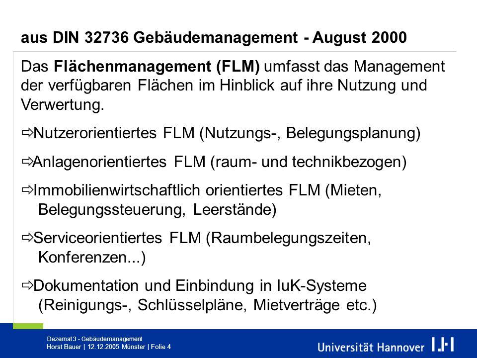 Dezernat 3 - Gebäudemanagement Horst Bauer   12.12.2005 Münster   Folie 4 aus DIN 32736 Gebäudemanagement - August 2000 Das Flächenmanagement (FLM) um