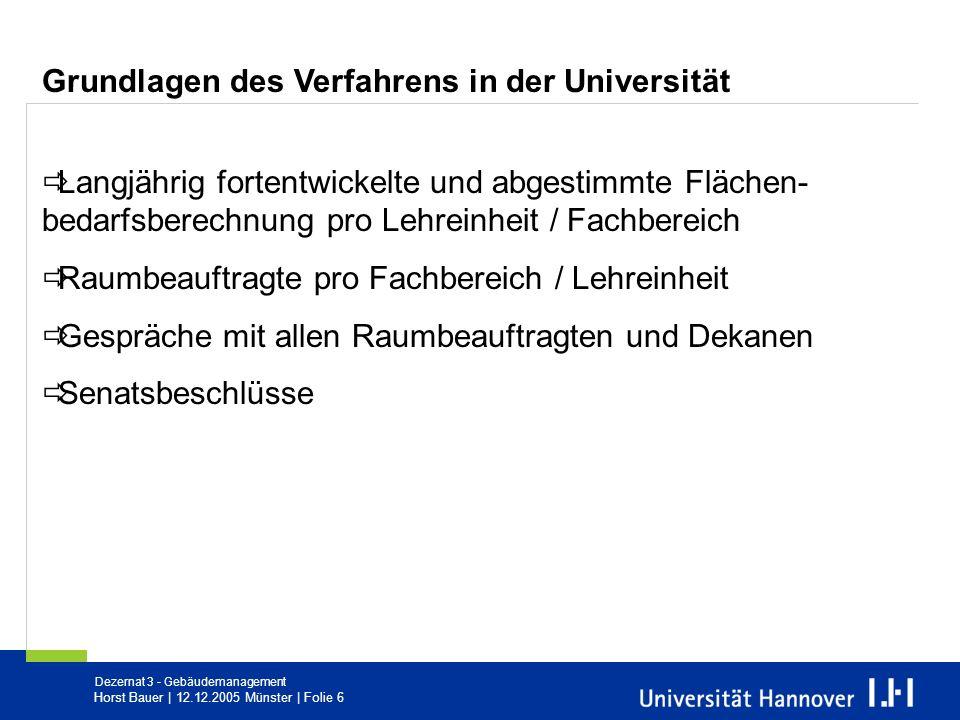 Dezernat 3 - Gebäudemanagement Horst Bauer   12.12.2005 Münster   Folie 6 Grundlagen des Verfahrens in der Universität Langjährig fortentwickelte und