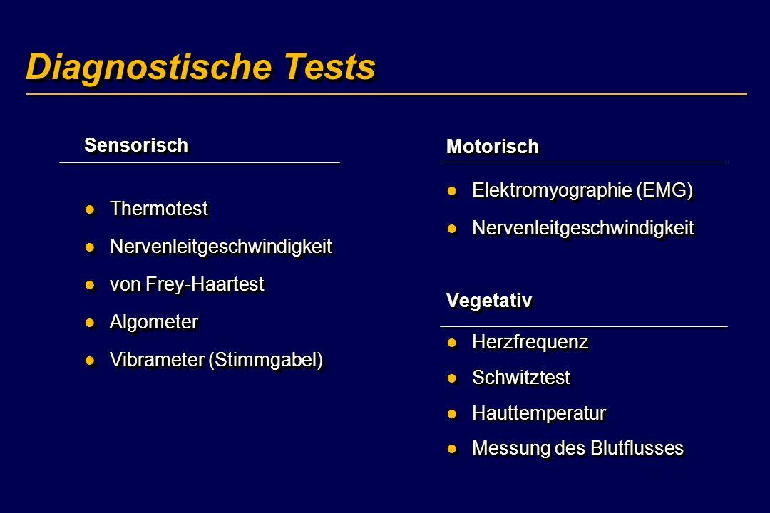 Diagnostische Tests Sensorisch Thermotest Thermotest Nervenleitgeschwindigkeit Nervenleitgeschwindigkeit von Frey-Haartest von Frey-Haartest Algometer