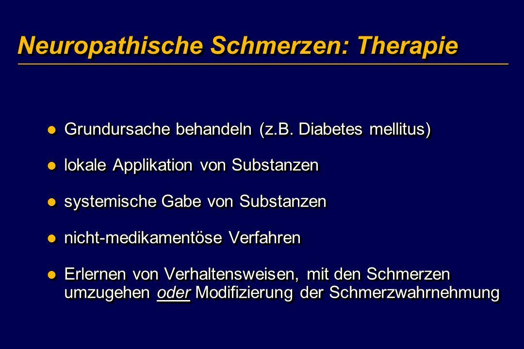 Neuropathische Schmerzen: Therapie Grundursache behandeln (z.B. Diabetes mellitus) Grundursache behandeln (z.B. Diabetes mellitus) lokale Applikation