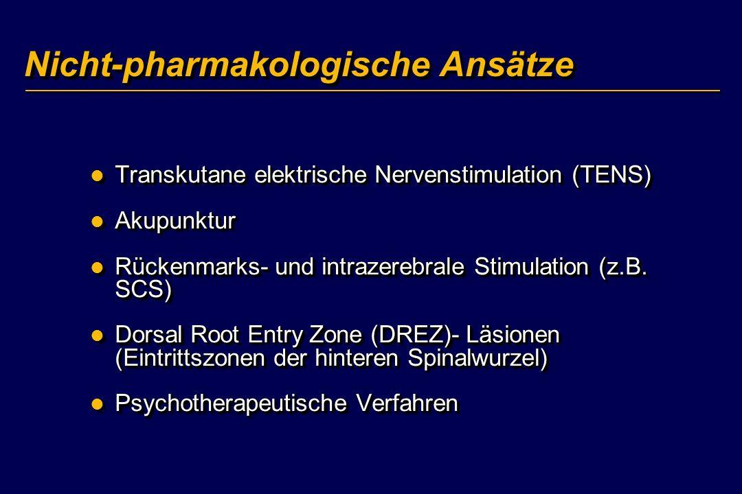 Nicht-pharmakologische Ansätze Transkutane elektrische Nervenstimulation (TENS) Transkutane elektrische Nervenstimulation (TENS) Akupunktur Akupunktur