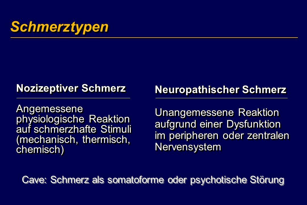SchmerztypenSchmerztypen Nozizeptiver Schmerz Angemessene physiologische Reaktion auf schmerzhafte Stimuli (mechanisch, thermisch, chemisch) Neuropath
