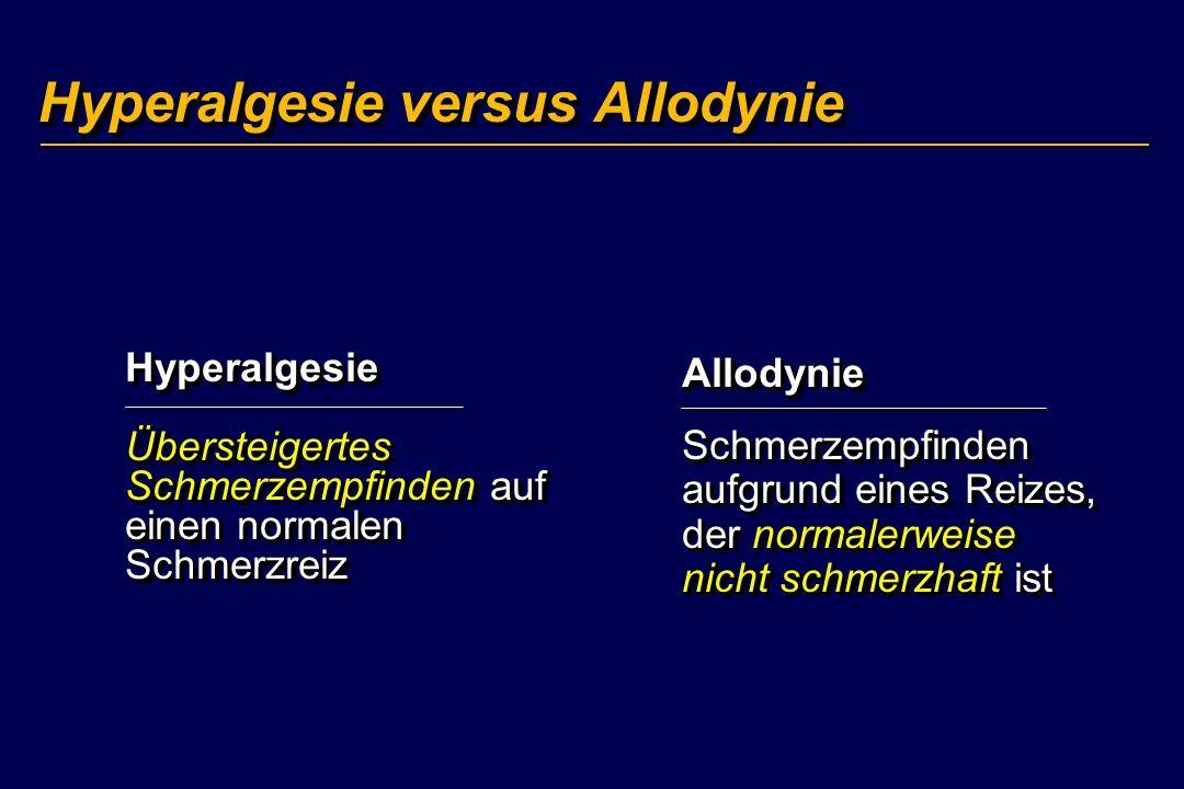 Hyperalgesie versus Allodynie Hyperalgesie Übersteigertes Schmerzempfinden auf einen normalen Schmerzreiz Allodynie Schmerzempfinden aufgrund eines Re