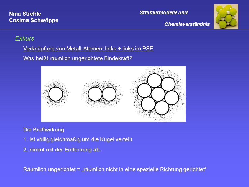 Nina Strehle Cosima Schwöppe Strukturmodelle und Chemieverständnis Exkurs Verknüpfung von Metall-Atomen: links + links im PSE Was heißt räumlich unger