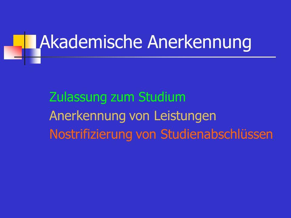 Akademische Anerkennung Zulassung zum Studium Anerkennung von Leistungen Nostrifizierung von Studienabschlüssen