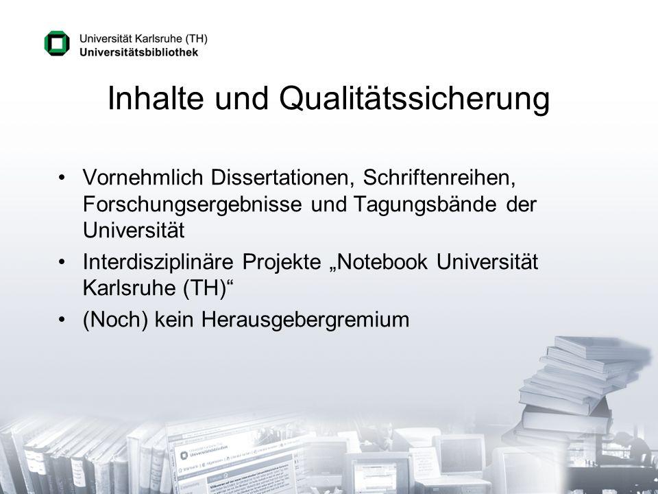 Inhalte und Qualitätssicherung Vornehmlich Dissertationen, Schriftenreihen, Forschungsergebnisse und Tagungsbände der Universität Interdisziplinäre Pr