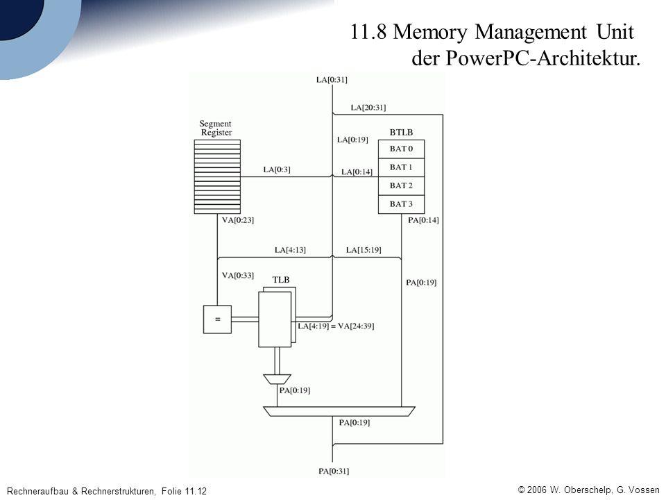© 2006 W. Oberschelp, G. Vossen Rechneraufbau & Rechnerstrukturen, Folie 11.12 11.8 Memory Management Unit der PowerPC-Architektur.