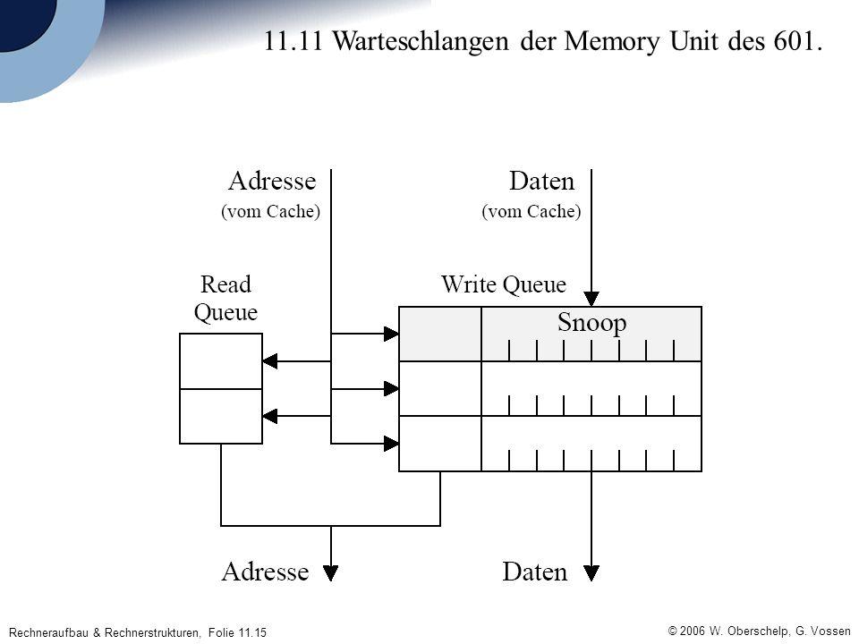 © 2006 W. Oberschelp, G. Vossen Rechneraufbau & Rechnerstrukturen, Folie 11.15 11.11 Warteschlangen der Memory Unit des 601.