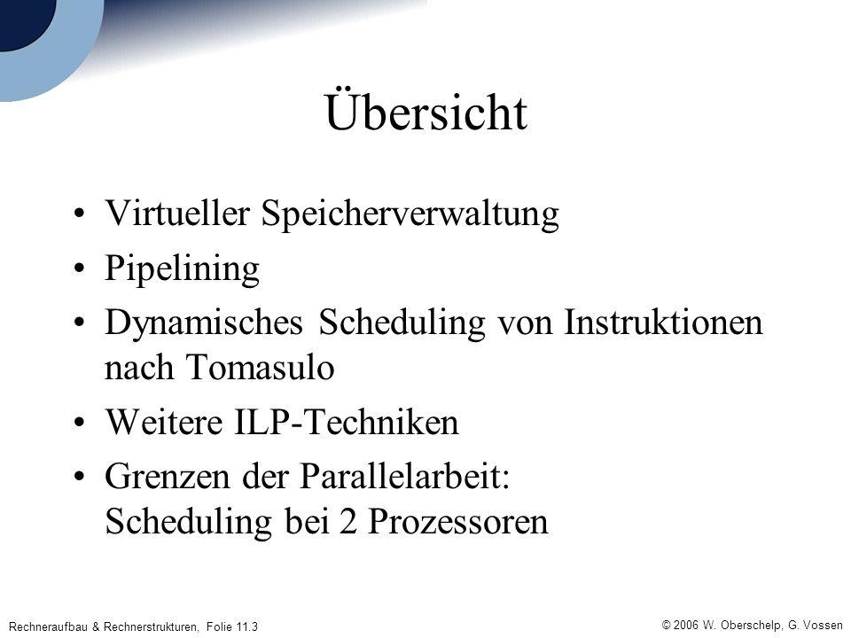 © 2006 W. Oberschelp, G. Vossen Rechneraufbau & Rechnerstrukturen, Folie 11.3 Übersicht Virtueller Speicherverwaltung Pipelining Dynamisches Schedulin