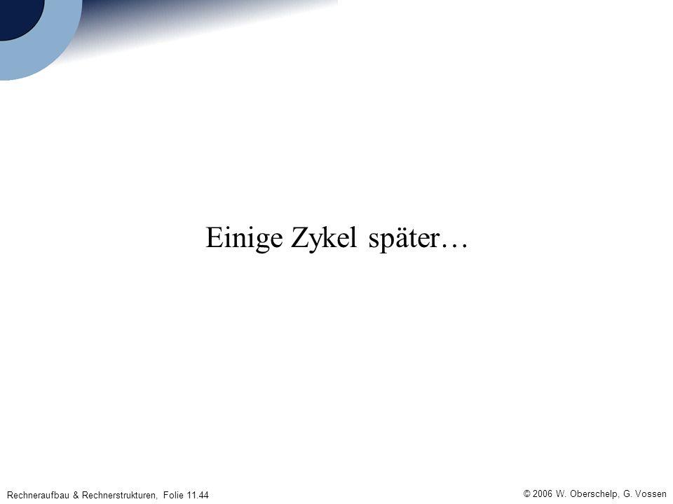 © 2006 W. Oberschelp, G. Vossen Rechneraufbau & Rechnerstrukturen, Folie 11.44 Einige Zykel später…