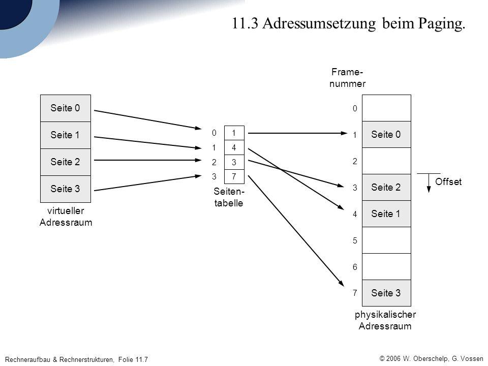 © 2006 W. Oberschelp, G. Vossen Rechneraufbau & Rechnerstrukturen, Folie 11.7 11.3 Adressumsetzung beim Paging. Seite 3 Seite 2 Seite 1 Seite 0 73 32