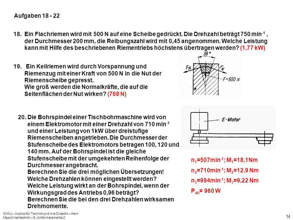 WWU – Institut für Technik und ihre Didaktik – Hein Maschinentechnik – 6. Umformelemente 2 14 Aufgaben 18 - 22 18.Ein Flachriemen wird mit 500 N auf e
