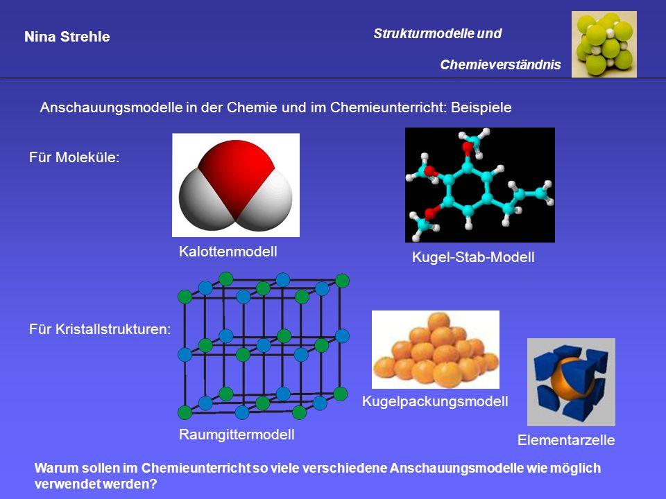 Nina Strehle Strukturmodelle und Chemieverständnis Modelle im Chemieunterricht: Anwendung und Grenzen Aufgabe: Erläutert die Anwendungsmöglichkeiten und Grenzen von Modellen anhand verschiedener Modelle für das Wassermolekül!