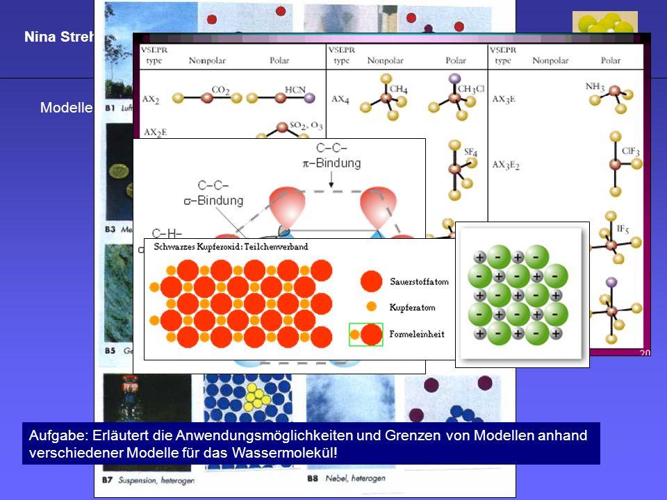 Nina Strehle Strukturmodelle und Chemieverständnis Modelle im Chemieunterricht: Anwendung und Grenzen Aufgabe: Erläutert die Anwendungsmöglichkeiten u