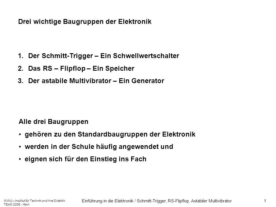 WWU – Institut für Technik und ihre Didaktik TEAM 2006 - Hein Einführung in die Elektronik / Schmitt-Trigger, RS-Flipflop, Astabiler Multivibrator 1 D