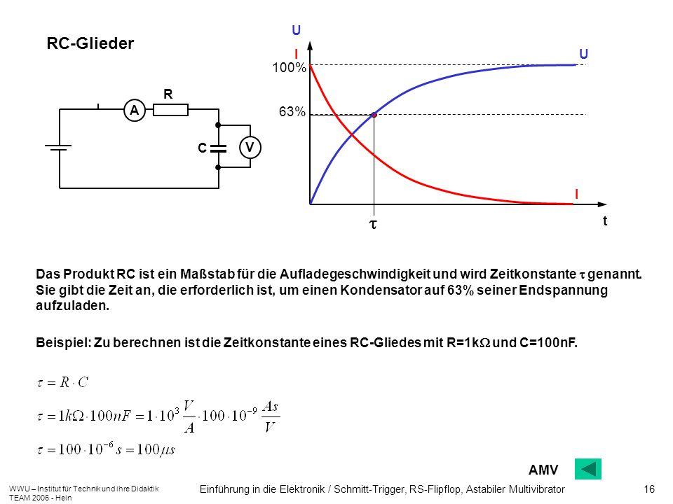 WWU – Institut für Technik und ihre Didaktik TEAM 2006 - Hein Einführung in die Elektronik / Schmitt-Trigger, RS-Flipflop, Astabiler Multivibrator 16