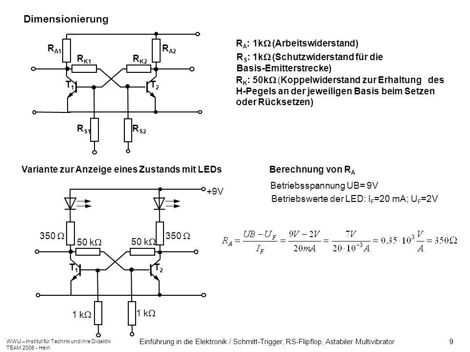 WWU – Institut für Technik und ihre Didaktik TEAM 2006 - Hein Einführung in die Elektronik / Schmitt-Trigger, RS-Flipflop, Astabiler Multivibrator 9 R